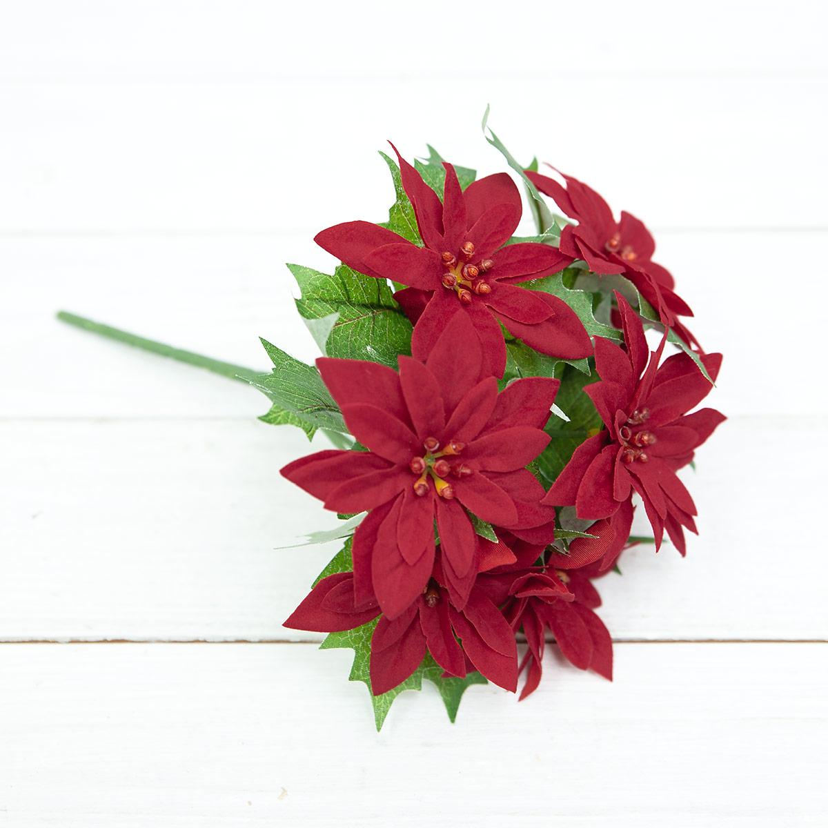 벨벳 미니 포인세티아 꽃 부쉬 24cm 실크플라워 조화 - 아티플라자, 3,700원, 조화, 부쉬
