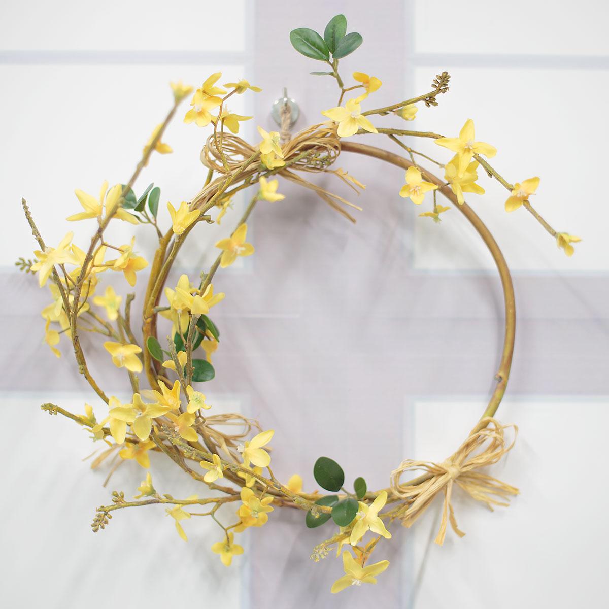실크플라워 네추럴 봄 개나리 꽃리스 기본사진