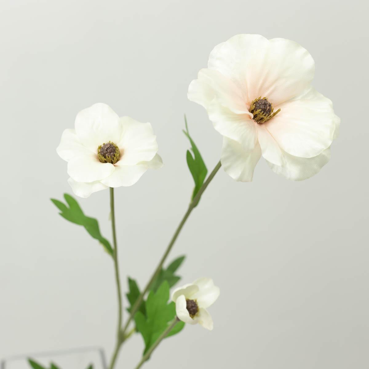 버터플라이 라넌큘러스 꽃 가지 60cm 크림/핑크