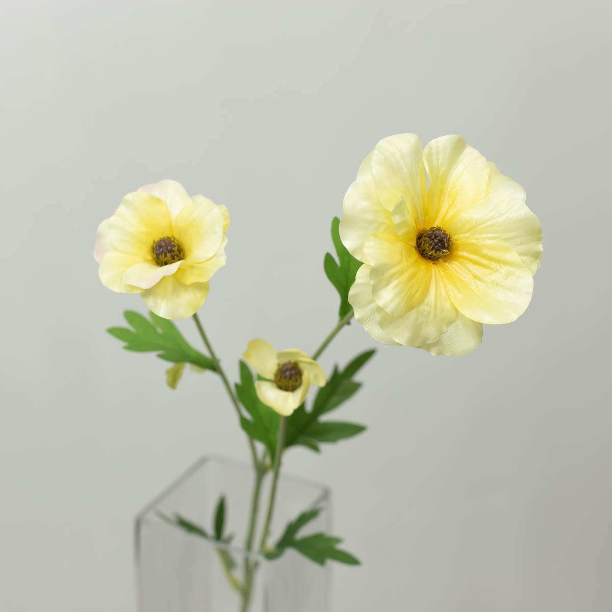 버터플라이 라넌큘러스 꽃 가지 60cm 옐로우