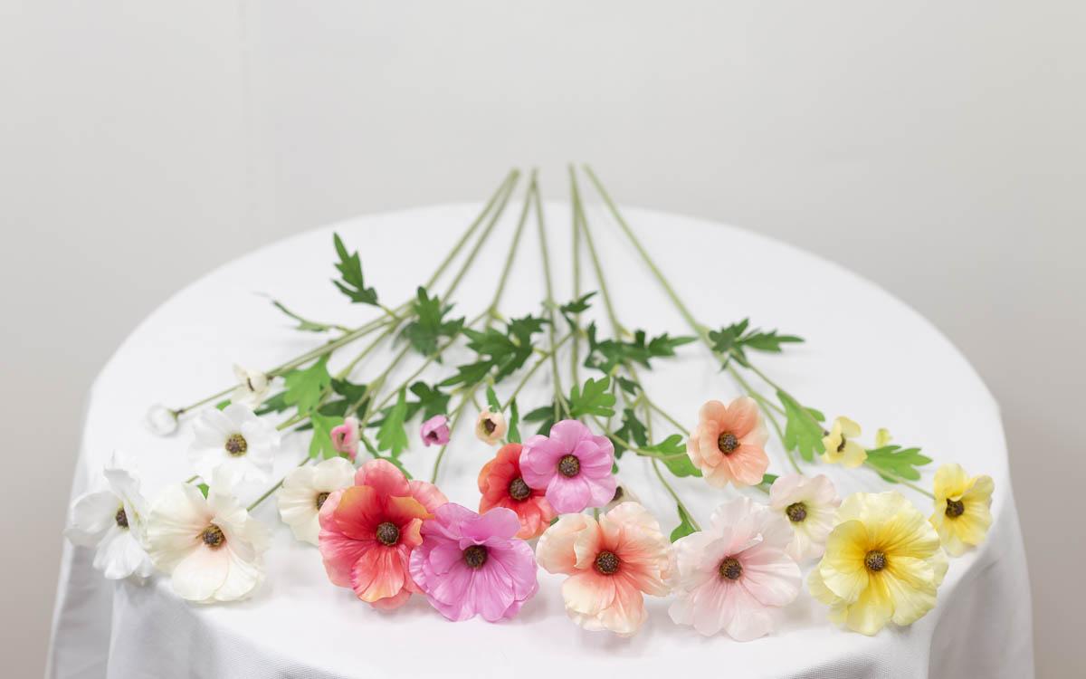 버터플라이 라넌큘러스 꽃 가지 60cm 색상비교