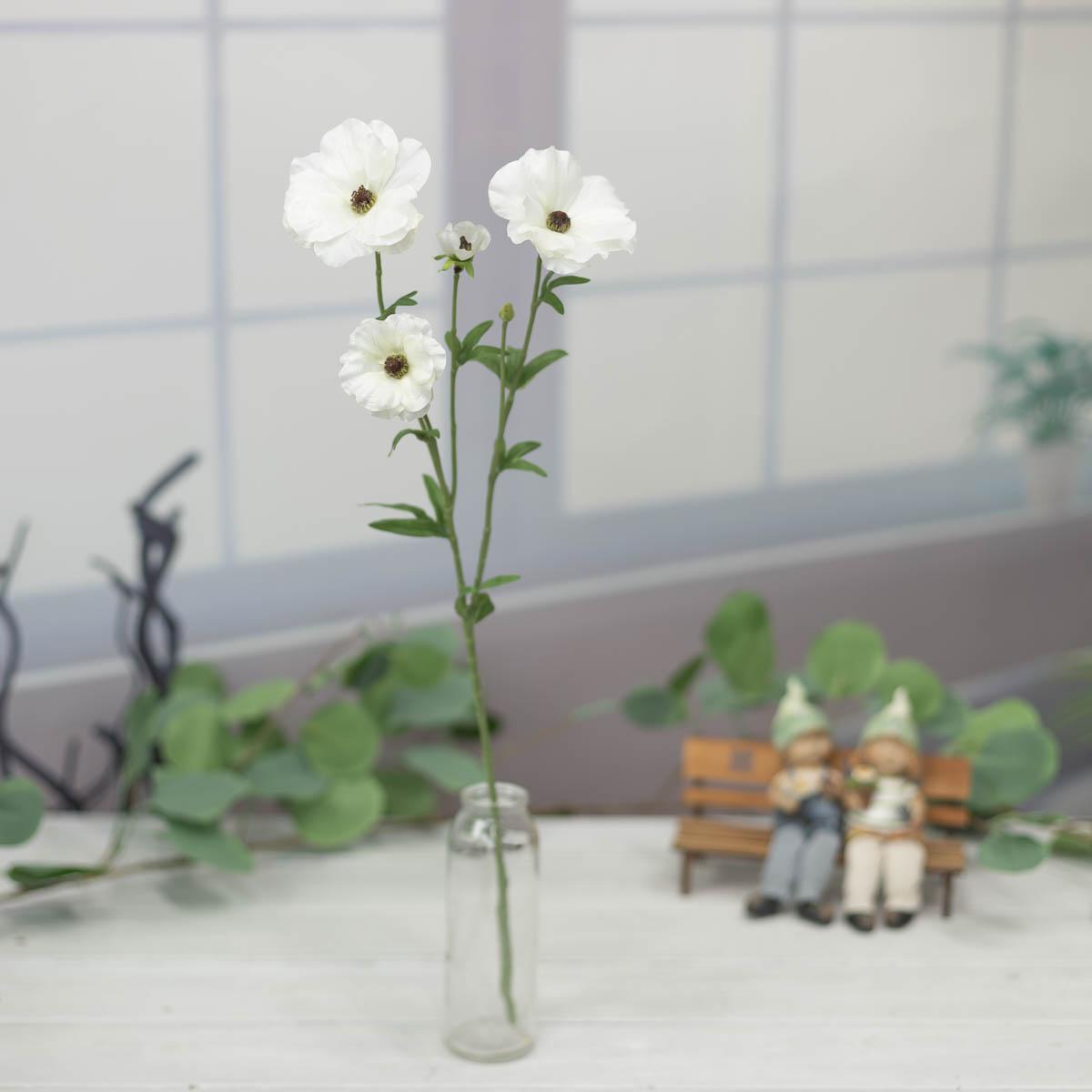 버터플라이 러넌큘러스 꽃 가지 56cm Cream(크림)
