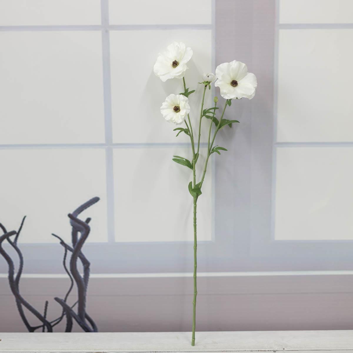 버터플라이 러넌큘러스 꽃 가지 56cm Cream(크림) 세워놓은 이미지