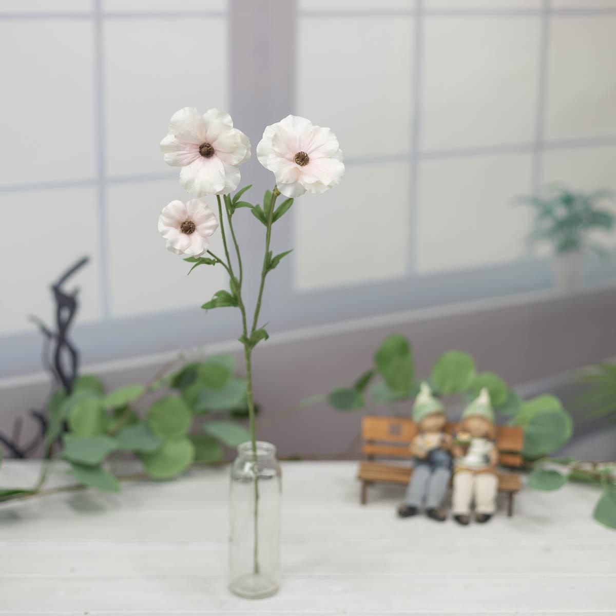 버터플라이 러넌큘러스 꽃 가지 56cm Cream/Pink(크림/핑크)