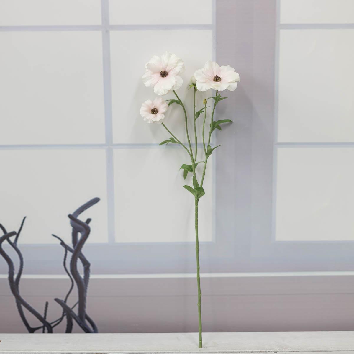 버터플라이 러넌큘러스 꽃 가지 56cm Cream/Pink(크림/핑크) 세워놓은 이미지
