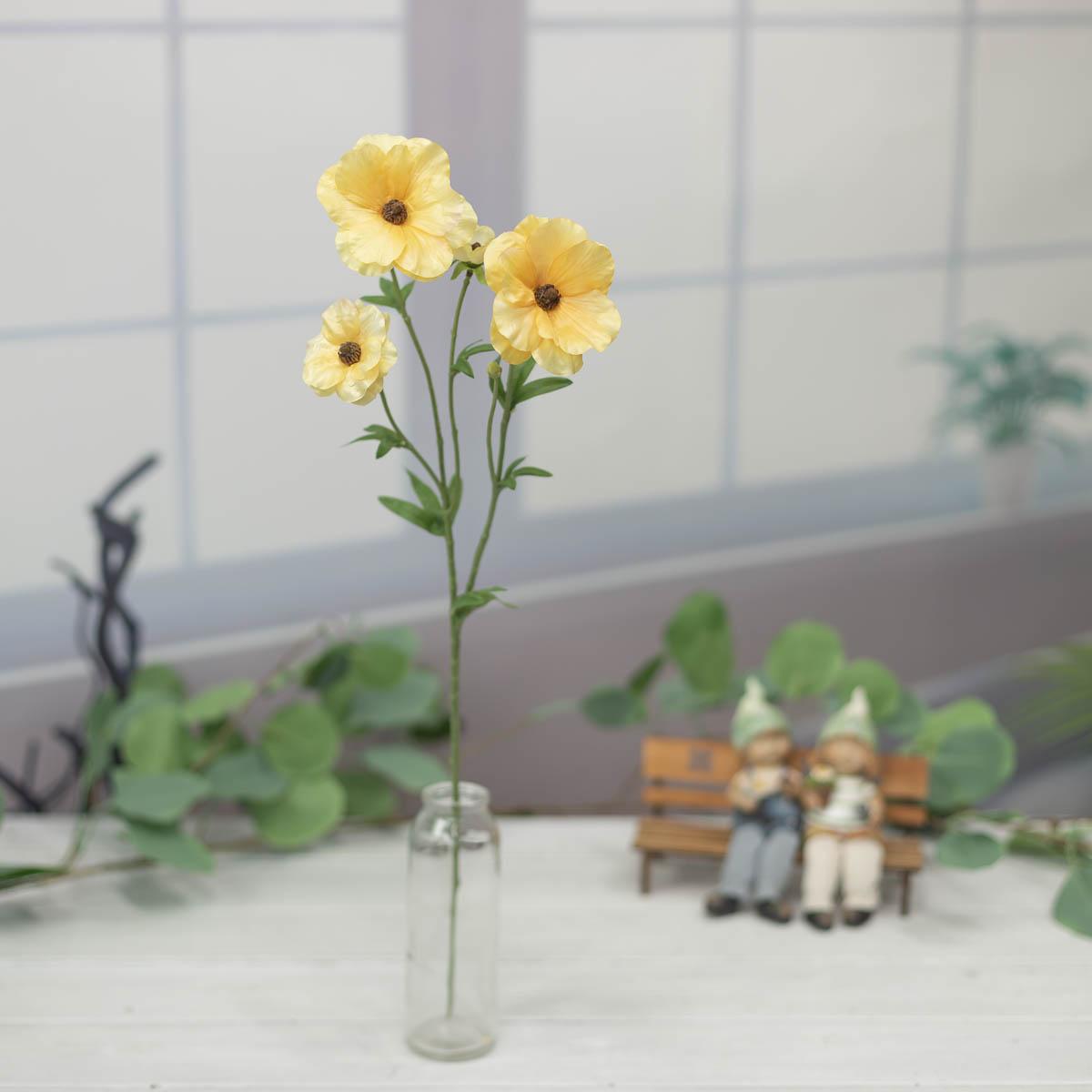 버터플라이 러넌큘러스 꽃 가지 56cm Yellow(옐로우)