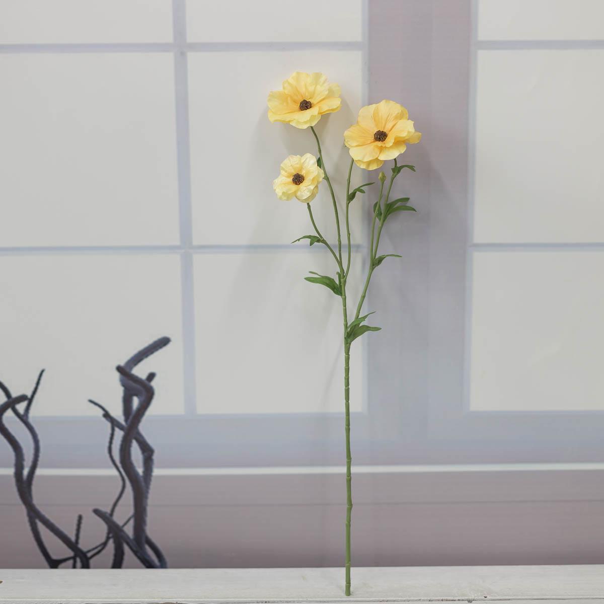 버터플라이 러넌큘러스 꽃 가지 56cm Yellow(옐로우) 세워놓은 이미지
