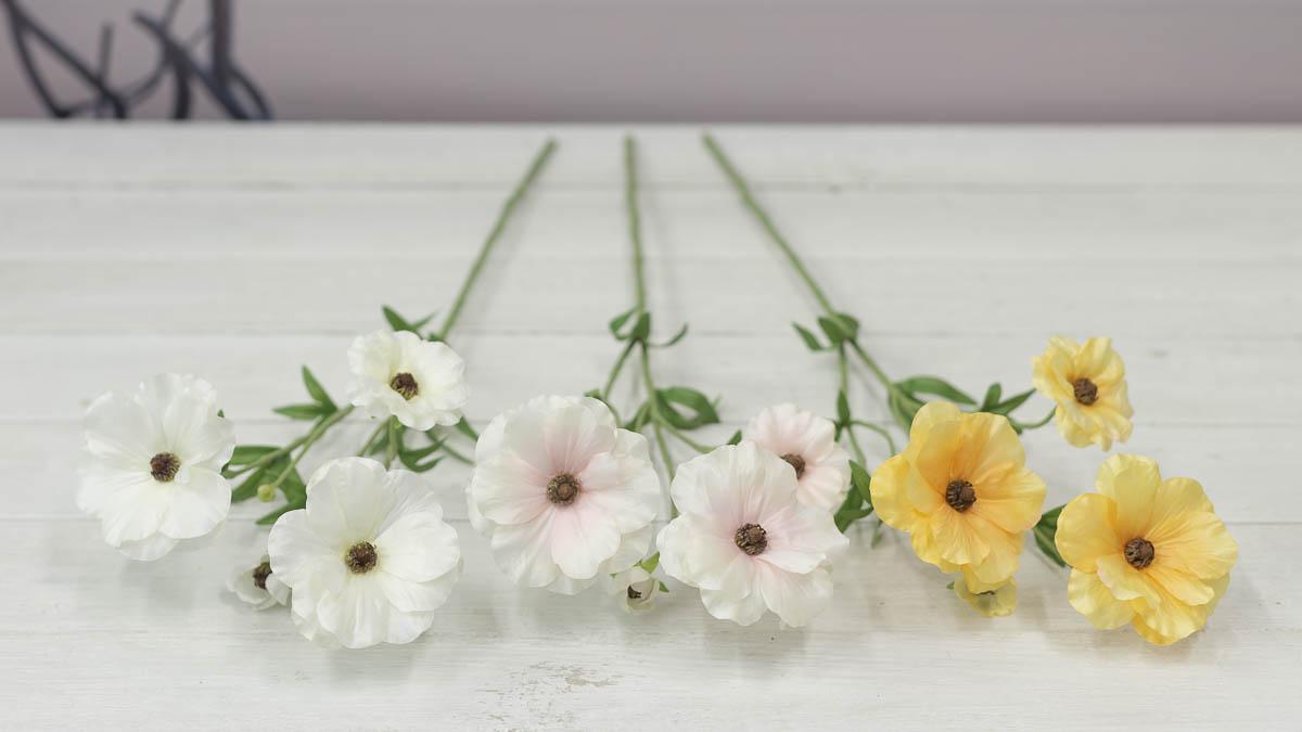 버터플라이 러넌큘러스 꽃 가지 56cm 색상비교
