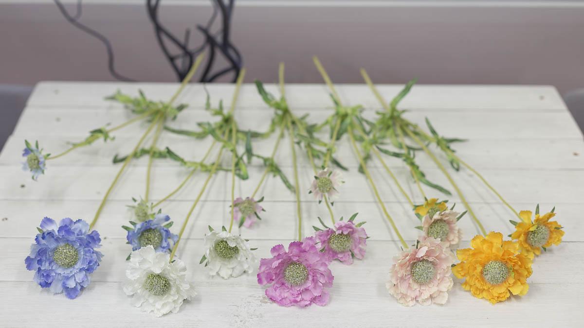 세송이 스카비오사 꽃 가지 62cm 색상비교