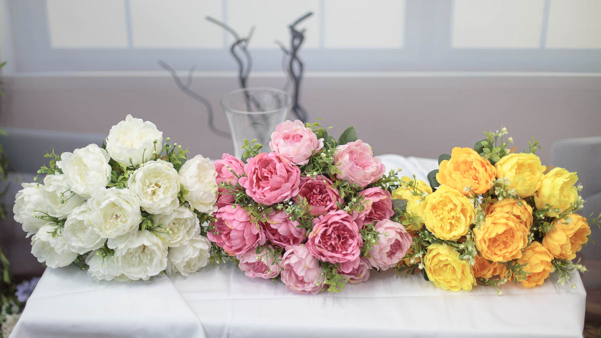 풍성한 작약 꽃 부쉬 색상비교교