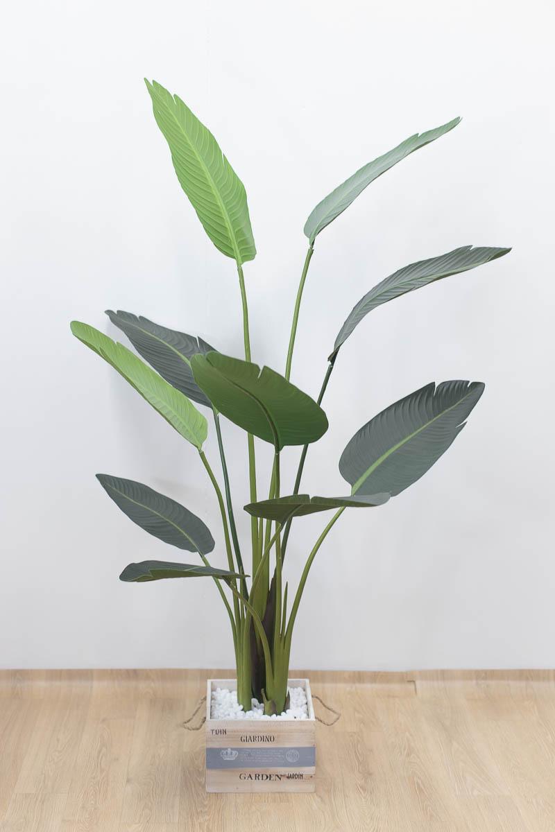 스텔리지아 극락조조화 인조나무 150cm Tuin사각화분 대 세트 잎사귀를 펼치고 자갈세팅 후 모습