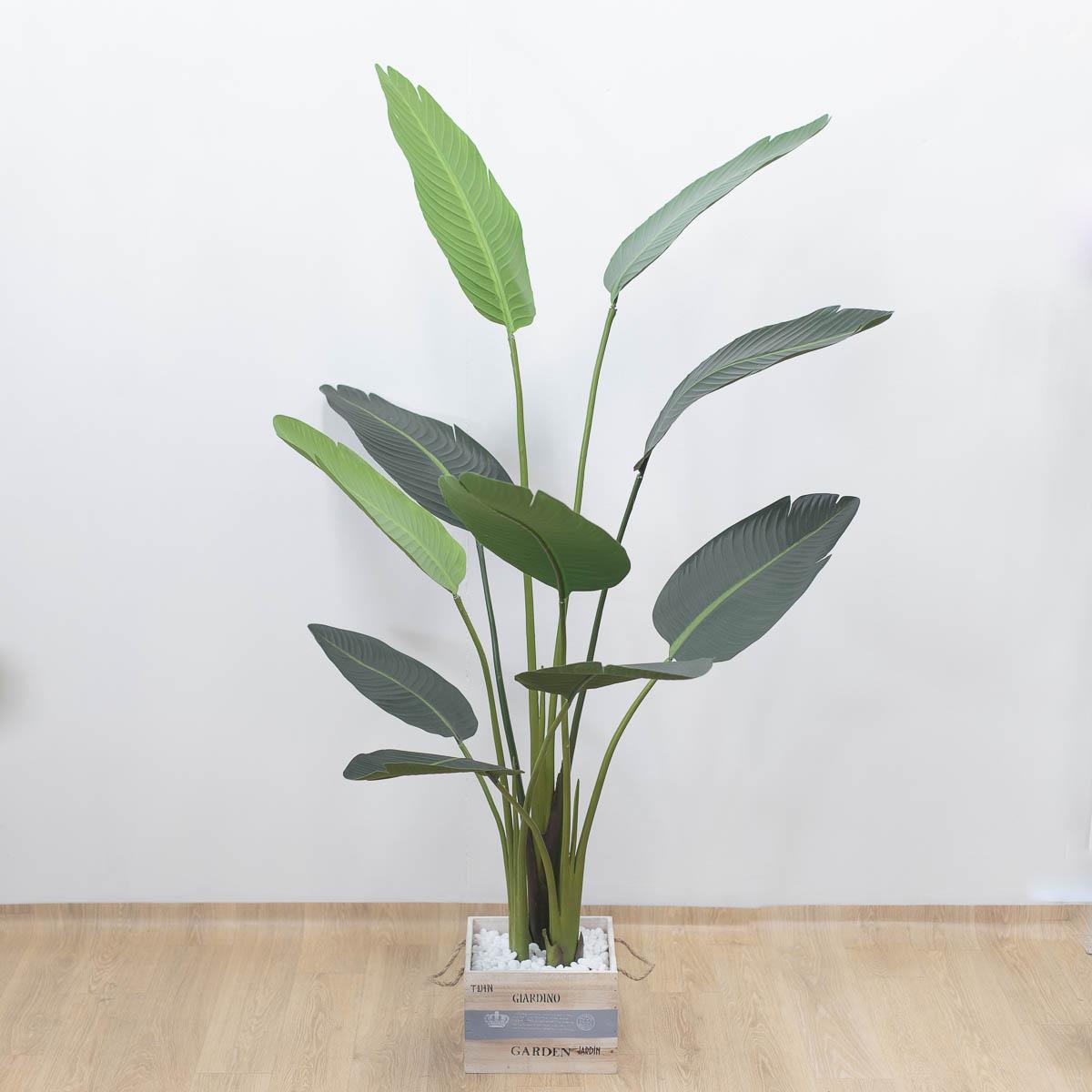 스텔리지아 극락조조화 인조나무 150cm Tuin사각화분 대 세트