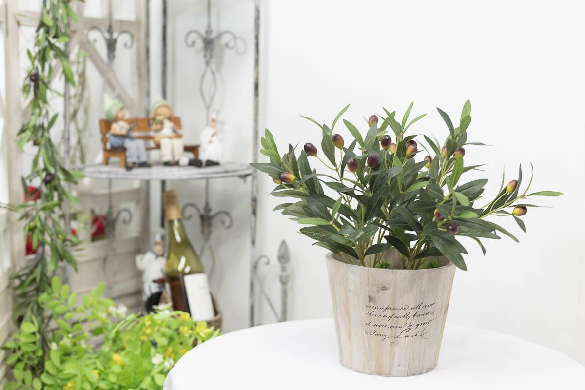 올리브조화 잎사귀 열매조화 부쉬 화분샘플
